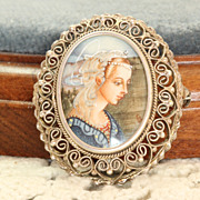 Vintage 800 Silver Filigree Portrait Pin/Pendant