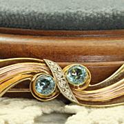 Estate 14K Tri Color Gold Retro Blue Zircon Brooch