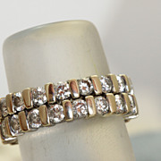 Pair Estate 18K Eternity Bands 3 CT Diamonds