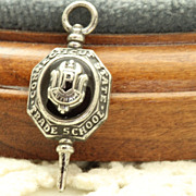 Estate Sterling Onyx CT State Trade School Key Fob/Pendant