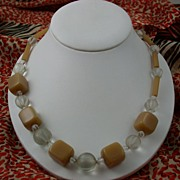 "26"" Bakelite Lucite and Crystal Necklace"