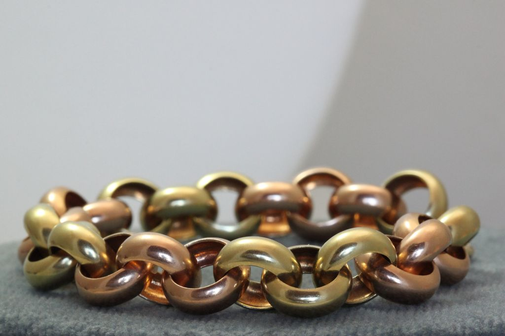 Estate 1940's Retro Bi-Colored Gold Rolo Bracelet