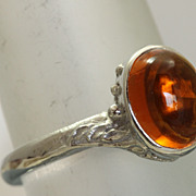 Estate 14KW 2.5 CT Citrine Cabochon Ring