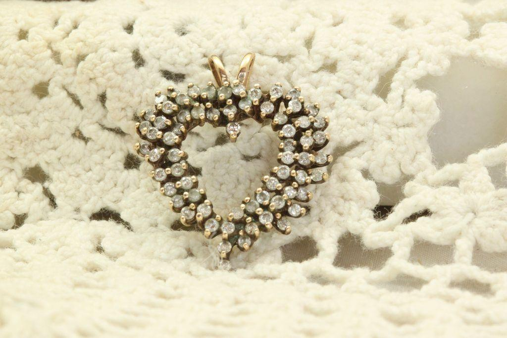 Estate 14 K Large Heart Diamond Pendant