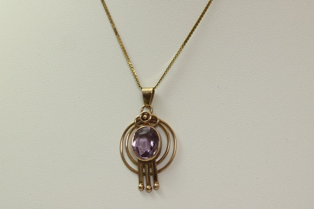 Estate 14K Rose Gold Deco Amethyst Pendant