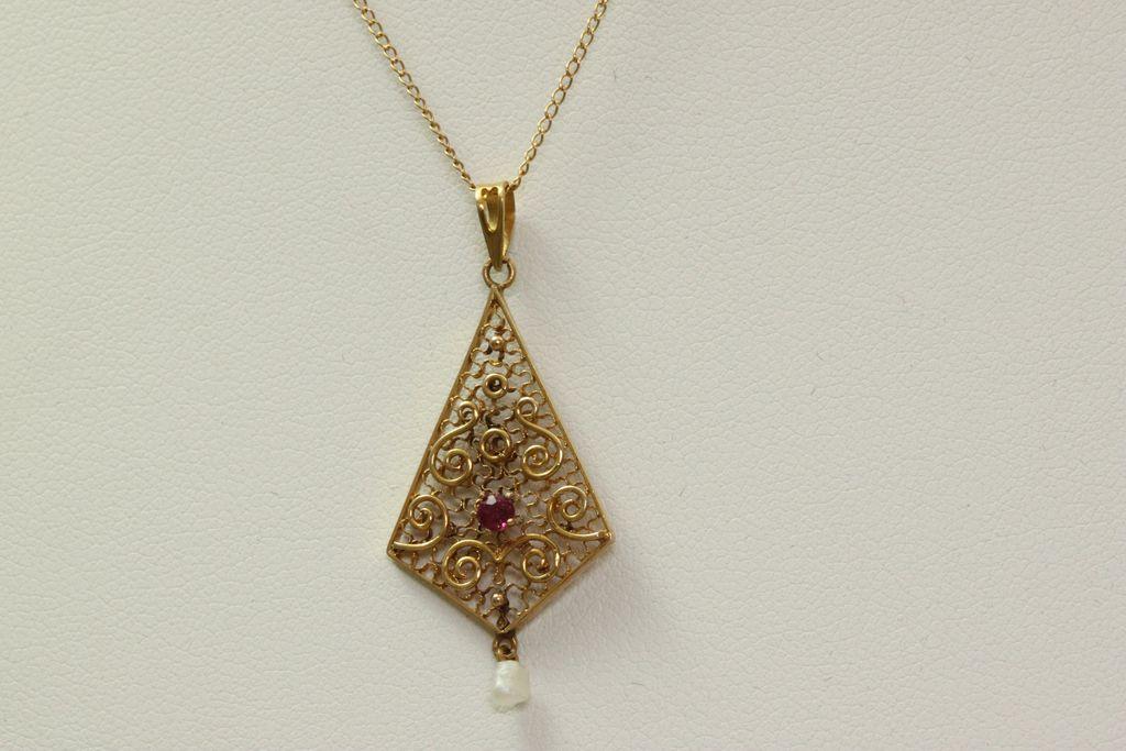 "18"" Vintage 14K Garnet Filigree Pearl Pendant"
