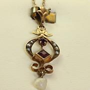 10K Vintage Amethyst Pearl Pendant