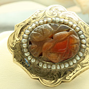 Estate 10K Chased Carnelian Seed Pearl Brooch