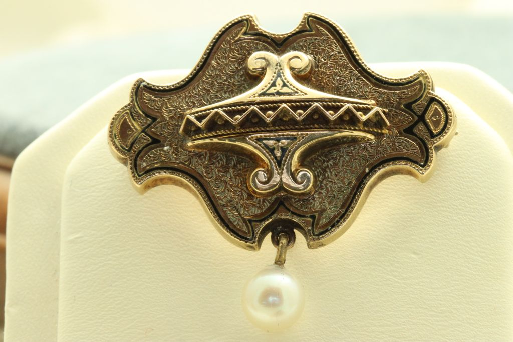 Estate 14K Taille d' Epergne Enamel Pearl Watch Pin