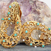 Estate 18K Etruscan Diamond Turquoise Omega Earrings
