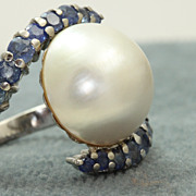 Estate Custom Platinum Montana Sapphire  Mabe Pearl Ring
