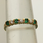 Estate 14K 0.70 CT Emerald and Diamond Band