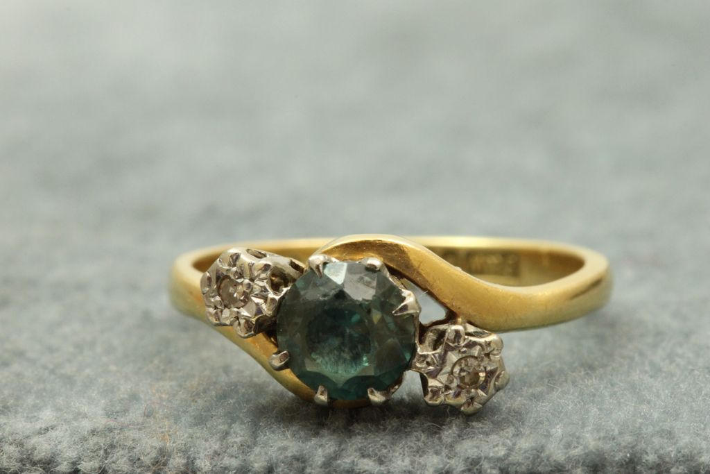 Estate English 18 K Blue Zircon and Diamond Ring