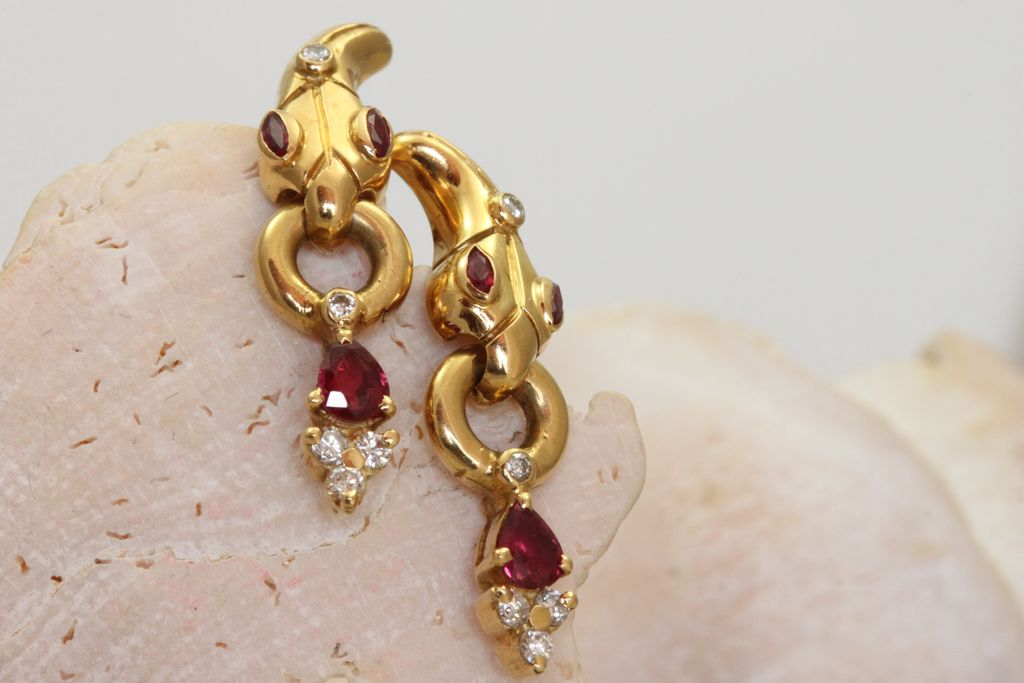 Estate 18K Year of the Snake Ruby Diamond Earrings