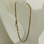 "Estate 14K  7"" Twisted Rope Bracelet"