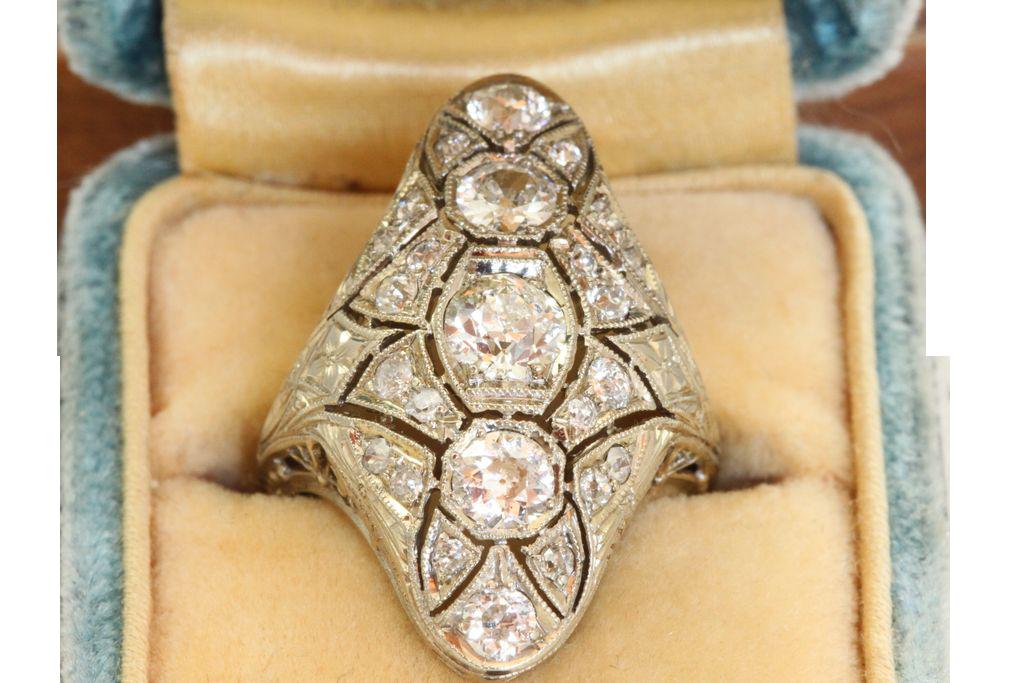 Estate 18KW Filigree 2 CT Old European Cut Diamond Lozenge Ring