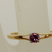 Estate 18K Jabel 0.25 CT Raspberry Tourmaline Ring