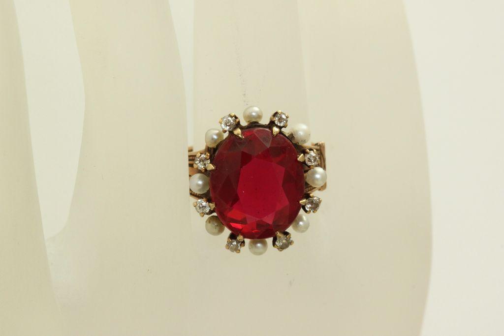 14K Victorian Corundum Ruby Diamond Seed Pearl Ring