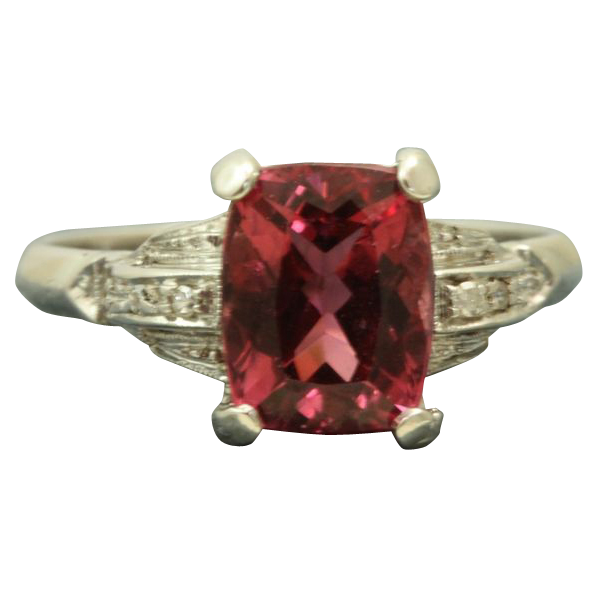 18KW 2.58 CT Raspberry Tourmaline Diamond Ring