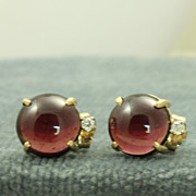 Estate 14K Rhodolite Garnet Diamond Post Earrings