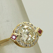 Estate Deco 18K 1.16 CT Diamond and Ruby Ring