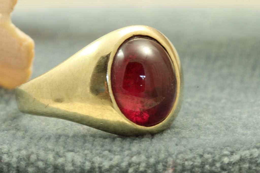 Estate 10K @5 CT Synthetic Red Stone Ring
