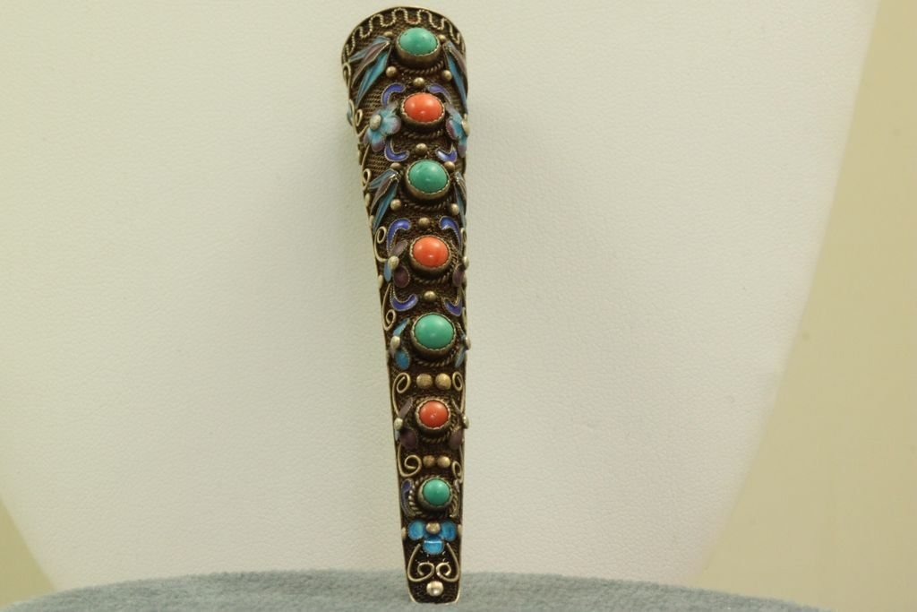 Vintage Silver Gilt Enamel Coral and Turquoise Brooch