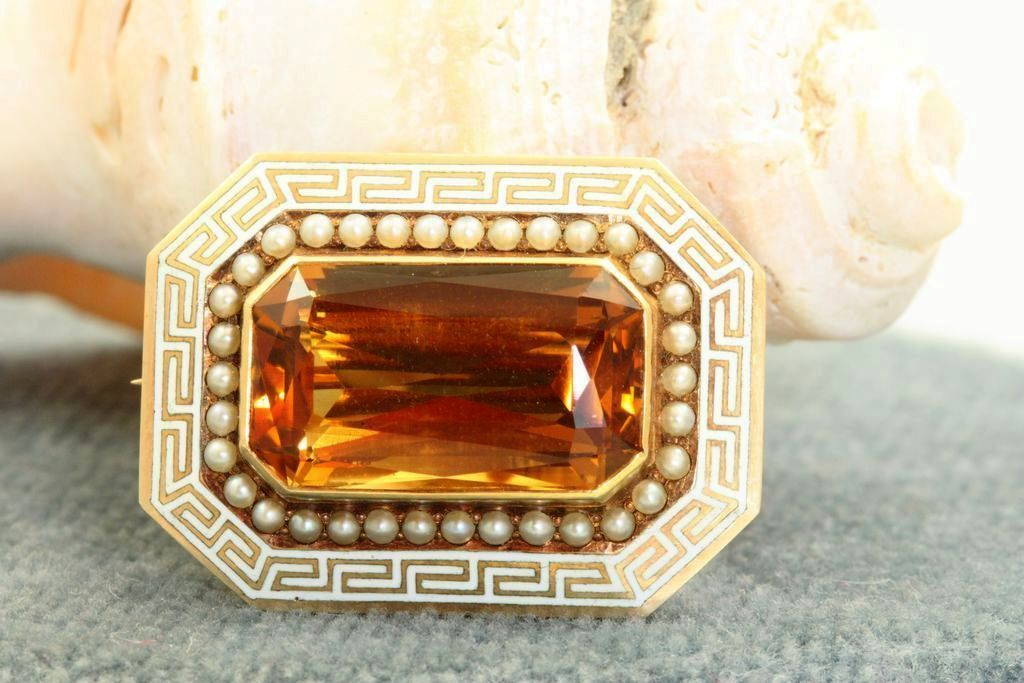 Riker Brothers 14K Greek Key Citrine Seed Pearl Brooch