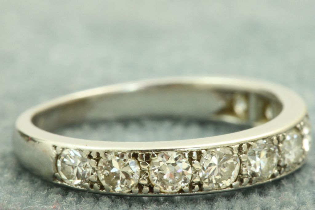 French Estate Platinum Old European Cut Diamond Band