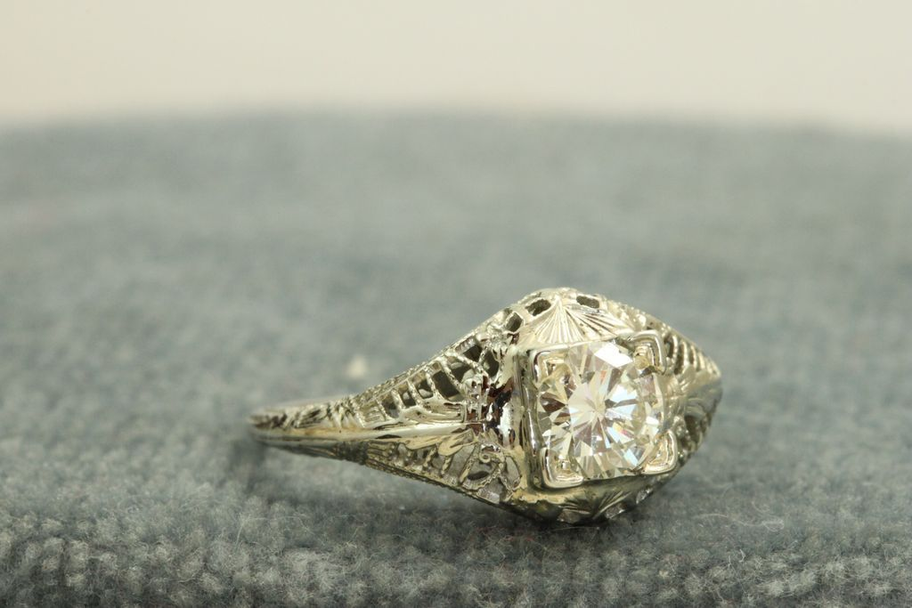 Estate 18KW 1920's 0.62 CT Diamond Solitaire
