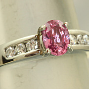 Estate Jeff Cooper Platinum Natural Pink Sapphire Diamond Ring