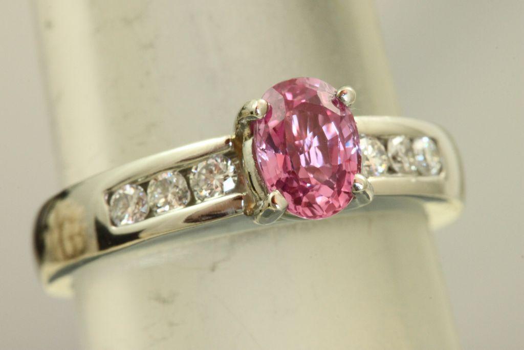 Estate Jeff Cooper Platinum Natural Pink Sapphire Diamond Ring