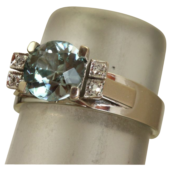 Estate 18 K White Gold 2.35 CT Blue Zircon and Diamond Ring