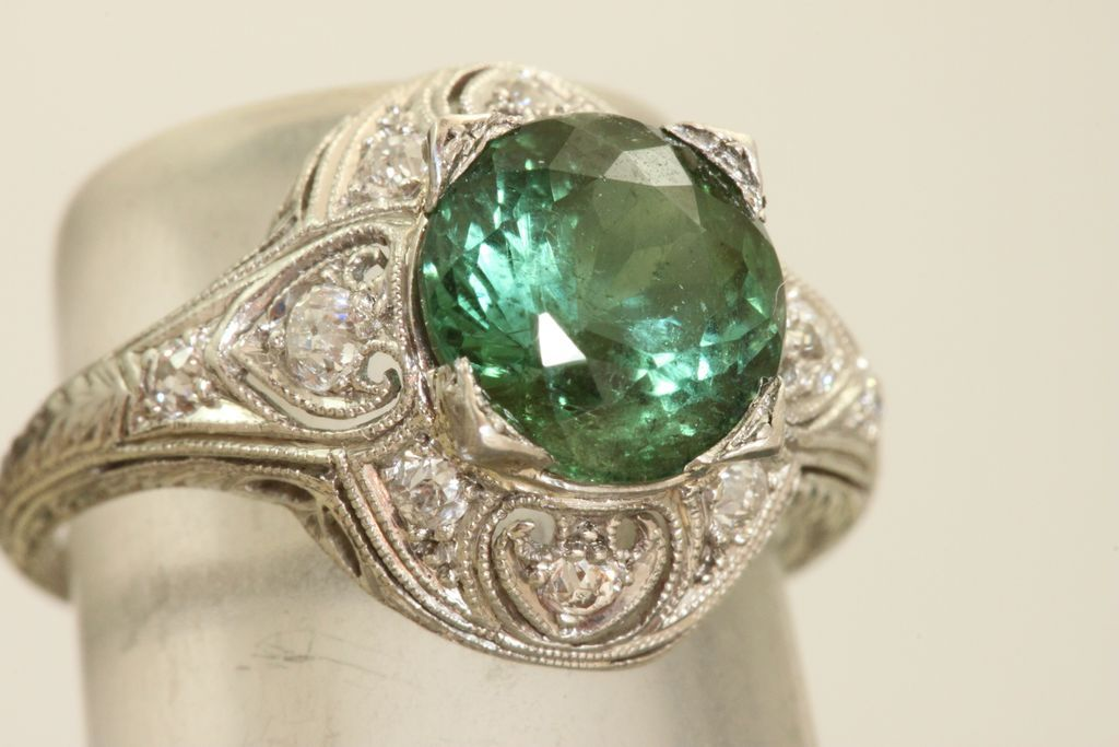 Platinum 2.3 CT Tourmaline and Diamond Filigree Ring