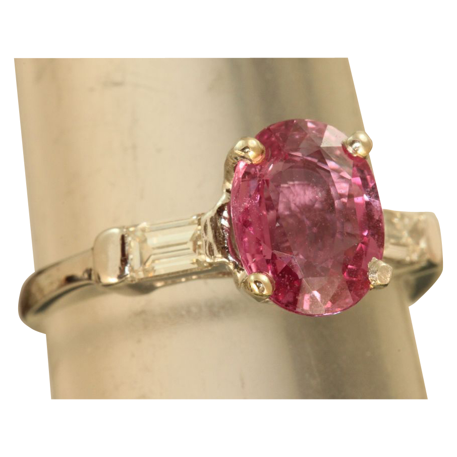Estate Platinum 2.5 CT Pink Sapphire and Diamond Ring