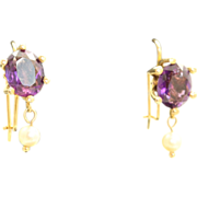 Estate 14 K 4 CT Amethyst Pearl Earrings