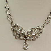 Vintage Sterling Open Back Crystal Necklace