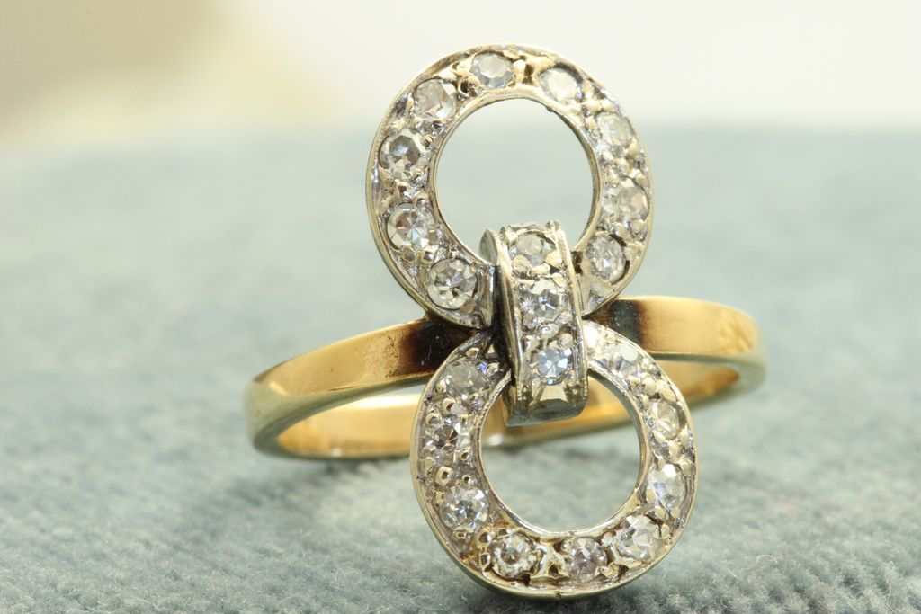 Estate 14 K Diamond Double Loop Ring
