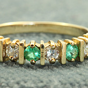 Estate 14 K Columbian Emerald Half Eternity Band