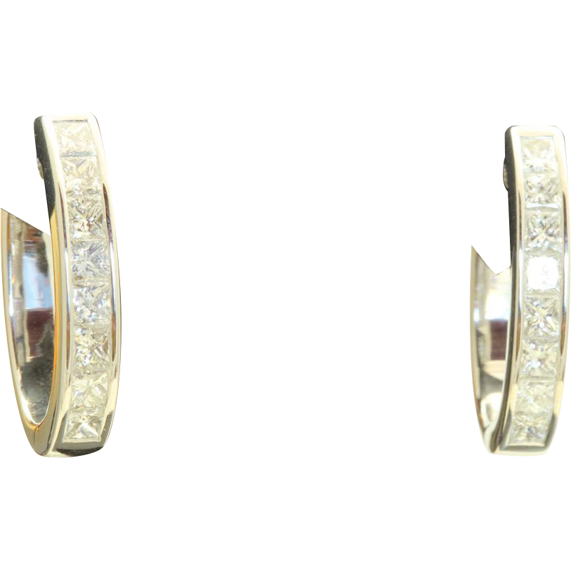 14 KW 1.88 CT Diamond Hoop Earrings