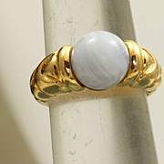 Retired 18 k 7 CT Blue Chalcedony Bulgari Ring