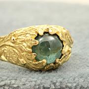 Estate 18 K Detailed Tourmaline Ring