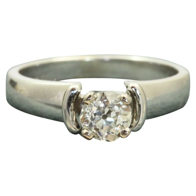 Estate 18 KW Jabel 0.60 CT Old European Cut Diamond Ring