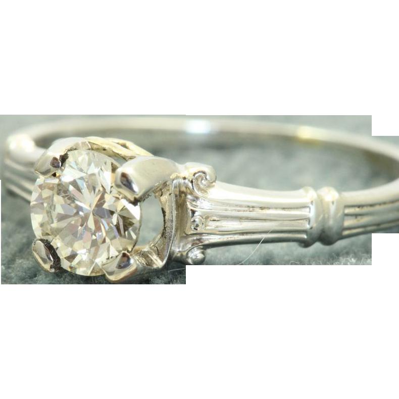 Estate 18 KW Jabel 0.55 CT Brilliant Cut Diamond Ring