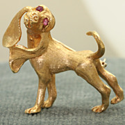 Estate 1960's 14 K Hound Dog Pin with Ruby Eyes