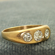 14 K 0.73 CT TW Three Stone Gypsy Ring