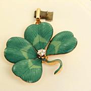 14 K 4 Leaf Clover Diamond Art Nouveau Pin