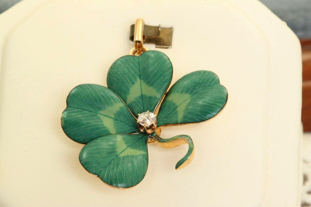 14 K 4 Leaf Clover Diamond Art Nouveau Pin