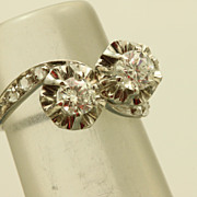 Vintage Platinum Toi et Moi Diamond Ring