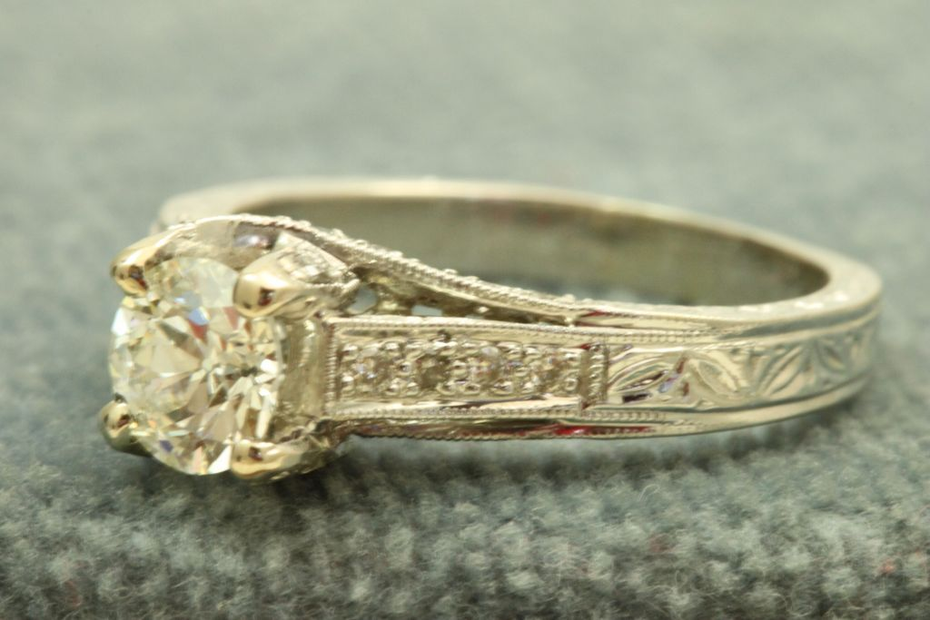 Estate 18 KW 1.14 CT Old European Cut Diamond Ring